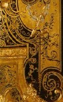 Marquetry Boulle, brass and scale of tortoise