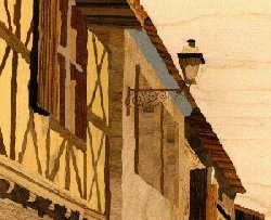 Labastide d' Armagnac's extract, street of the post office. Click for an example of full of life composition
